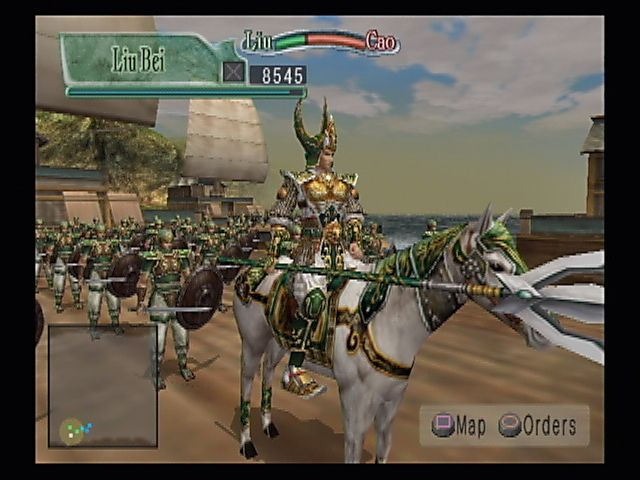 Kessen II PlayStation 2 Extraordinary helmet, matching weapon. Kessen continues its trademark of overly-stylistic armor.