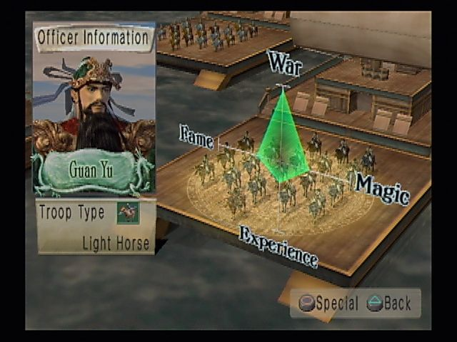 Kessen II PlayStation 2 Truly a god of war. Guan Yu's stats early in the game. You can also change formations from the tactical menus.