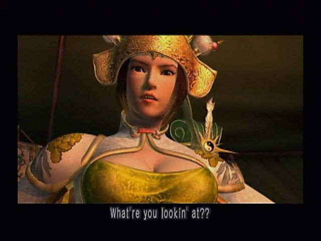Kessen II PlayStation 2 She means YOU! There's a good reason Mei's pissed...she's the subject of multiple cleavage jokes in the course of the game.