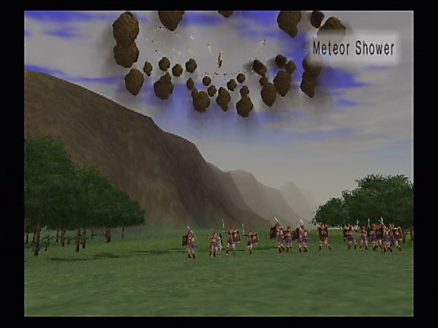 Kessen II PlayStation 2 The sky is falling! Some of the characters can cast literal ground-breaking war spells.