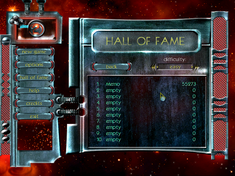 Alien Outbreak 2: Invasion Windows High score table.