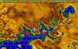 Sinbad and the Throne of the Falcon Amiga Tactical map of the Damaron region. You must repel the troops of the Black Prince from the Capital