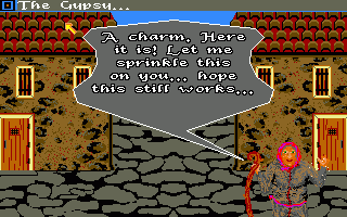 Sinbad and the Throne of the Falcon Amiga Iris the Gypsy. Being the first released, the Amiga version has an entirely different graphical layout