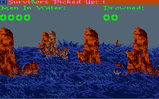 Sinbad and the Throne of the Falcon Amiga The shipwreck mini-game. Any survivors you pick up will join you