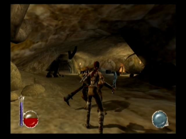 Drakan: The Ancients' Gates PlayStation 2 Fighting Grulls in a cave
