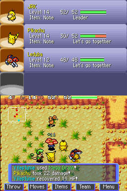 Pokémon Mystery Dungeon: Blue Rescue Team Nintendo DS Enemy recovered HP.