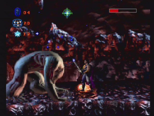 Skeleton Warriors PlayStation Fighting a boss.