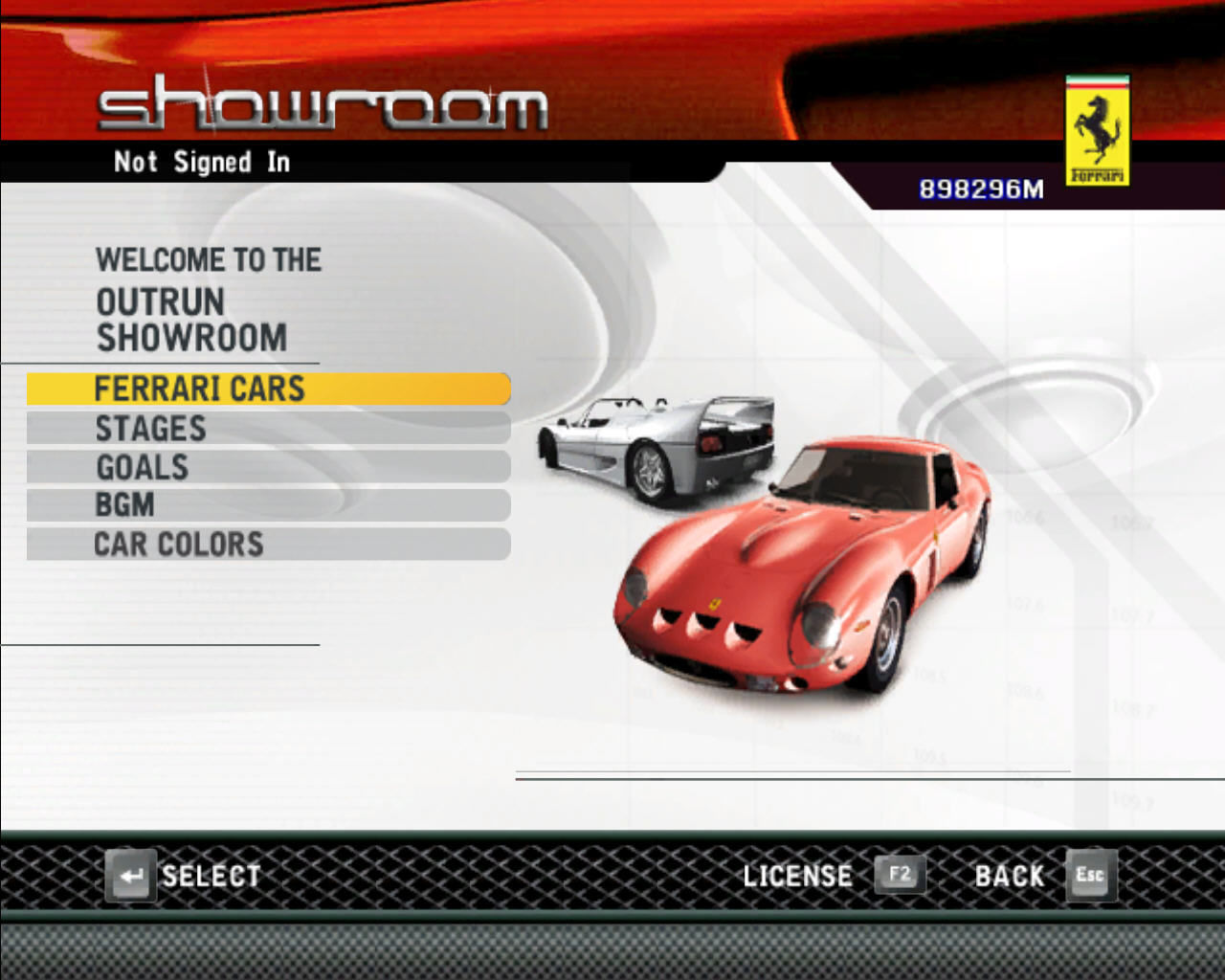 OutRun 2006: Coast 2 Coast Windows In the showroom you can unlock cars, stages, goals, music and car colors.