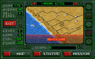 Desert Strike: Return to the Gulf Amiga Mission map.From here you can see your mission goals and remaining ammo and armor.