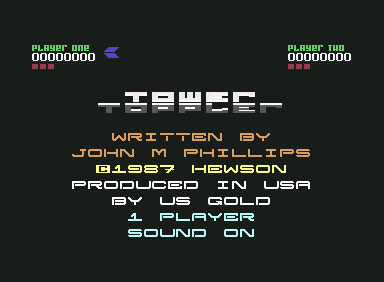 Tower Toppler Commodore 64 Title screen and credits (USA version)