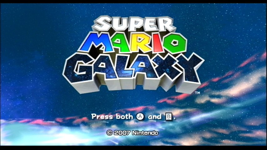 Super Mario Galaxy Wii Title screen