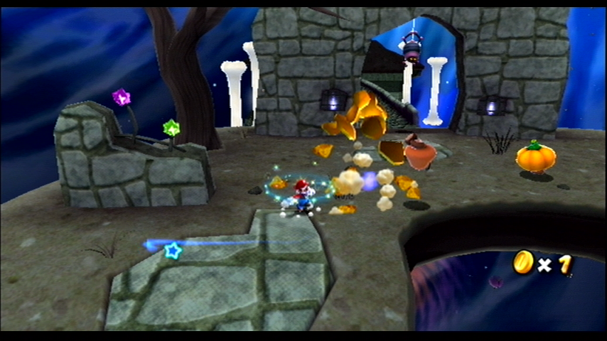 Super Mario Galaxy Wii These goombas are disguised as pumpkins!