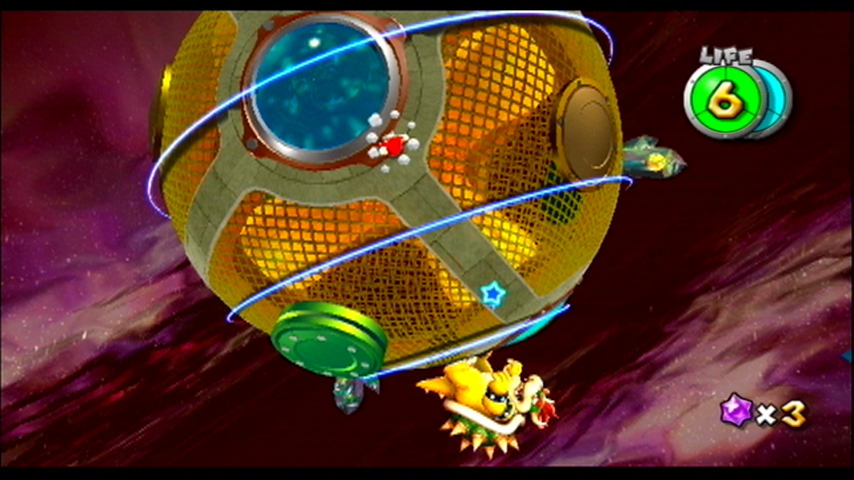 Super Mario Galaxy Wii Jump over the shockwaves Bowser creates...