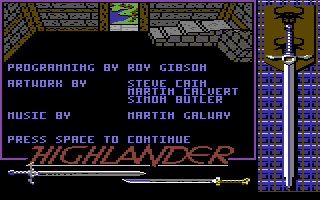 Highlander Commodore 64 Title screen.