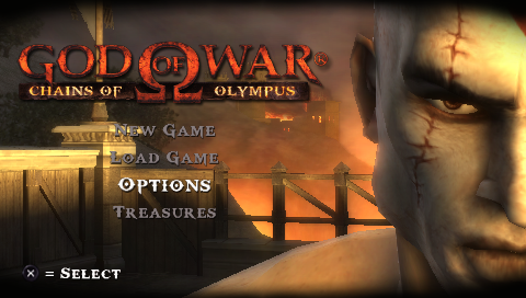 God of War: Chains of Olympus PSP Main menu