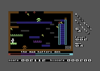 Blagger Commodore 64 Level 2: The Mad Hatter's Den