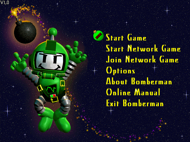 Atomic Bomberman Windows Main menu. Contributed by Stratege (15370) on Apr