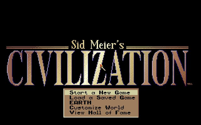 Sid Meier's Civilization DOS Start new game Page