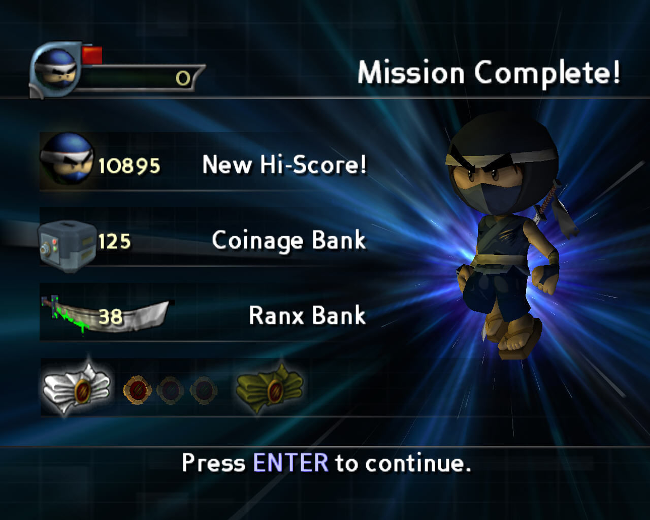 I-Ninja Windows Mission complete screen