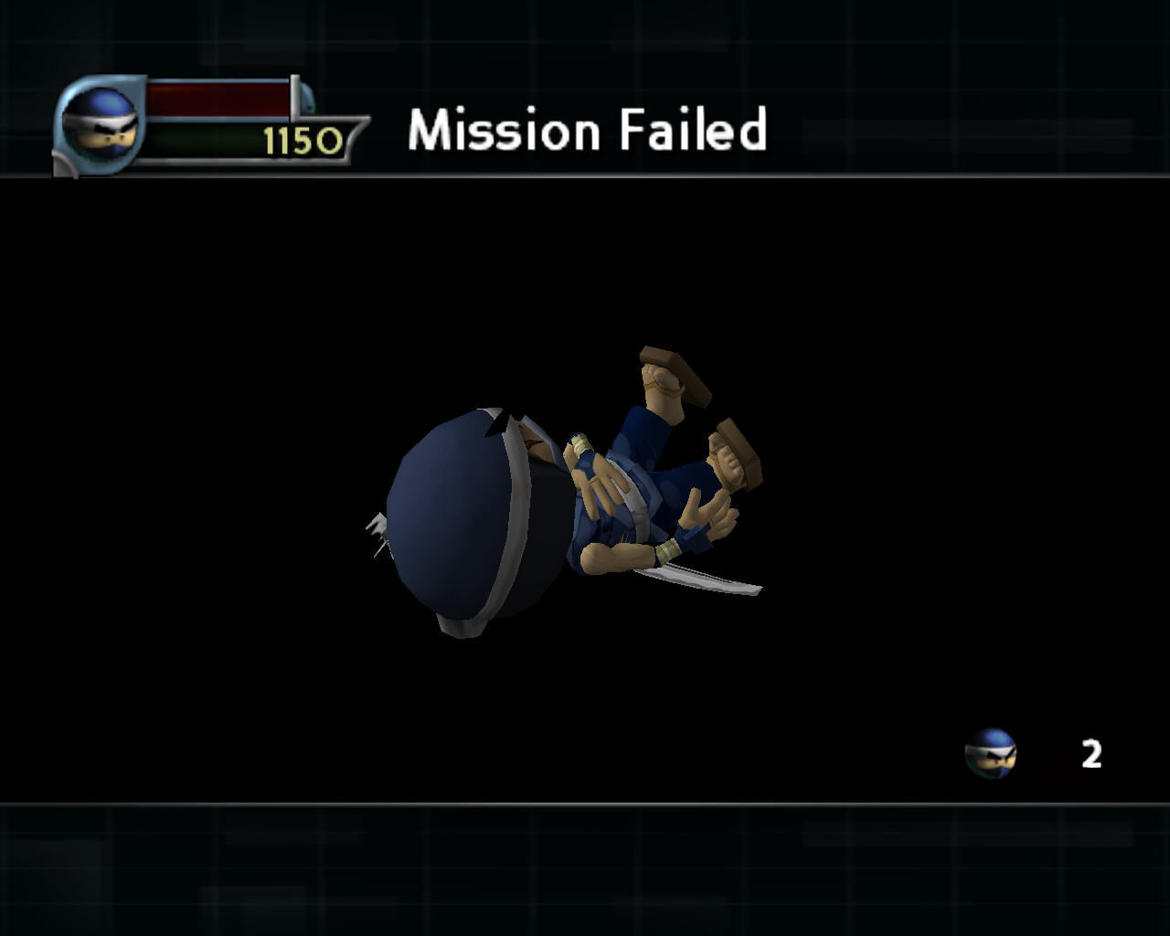 I-Ninja Windows Mission failed screen