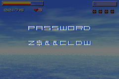 Star X Game Boy Advance ... the password is shown