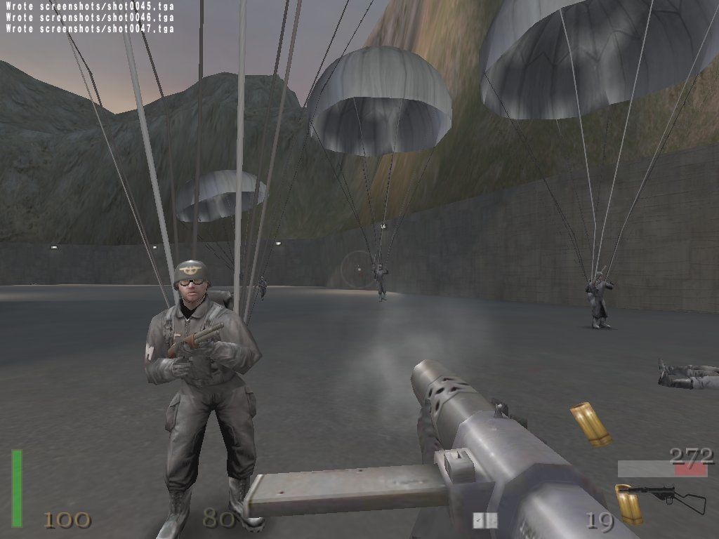 Return to Castle Wolfenstein: Game of the Year Windows Fighting the Nazi paratroopers at the end of the second mission
