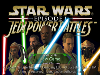 Star Wars: Episode I - Jedi Power Battles PlayStation Start menu