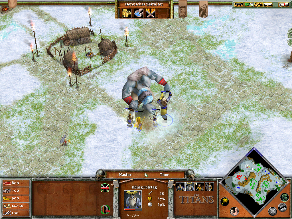 Age of Mythology: The Titans Windows King Folstag and our heroes are battling the titan Ymir.