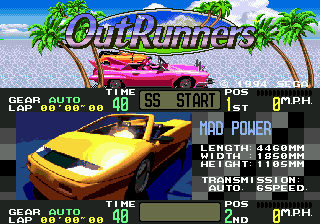 OutRunners Genesis Title screen showing Mad Power car