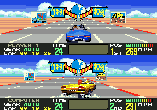 OutRunners Genesis It's split screen against the computer in a 1-player game