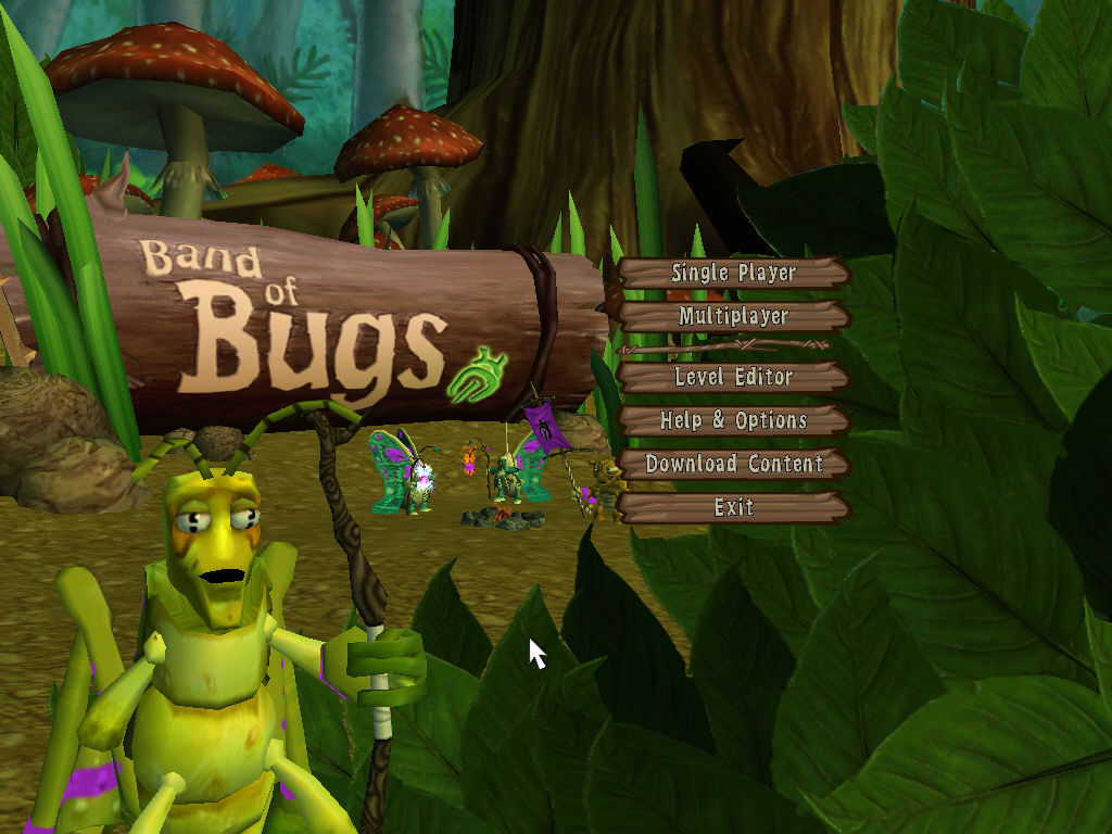 Band of Bugs Windows Main menu.