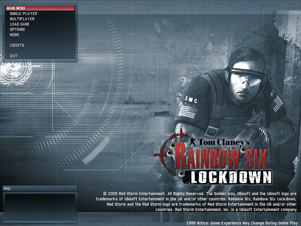 Tom Clancy's Rainbow Six: Lockdown Windows Main menu