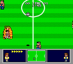Nintendo World Cup Genesis On fire, ready to take the ball.
