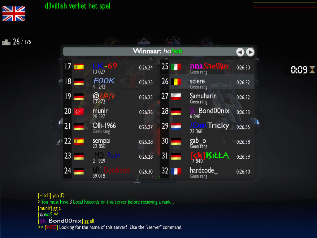 TrackMania Nations Forever Windows The race results