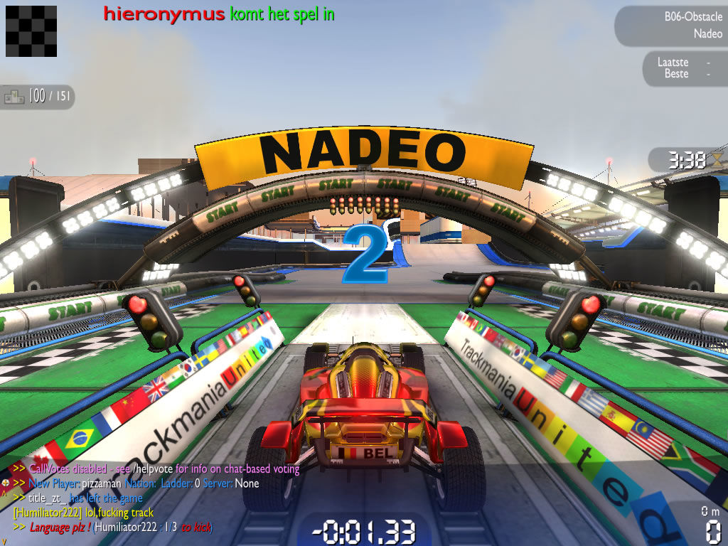 TrackMania Nations Forever Windows Preparing to race (third-person view)
