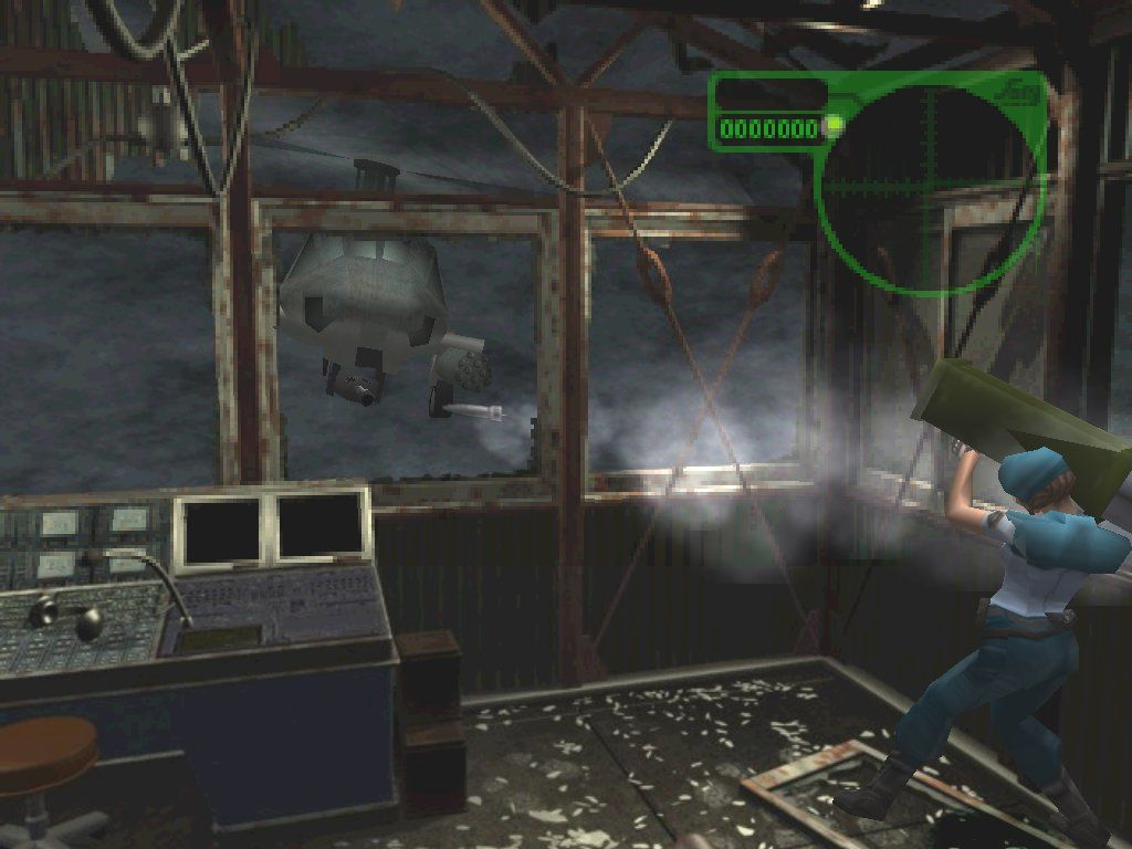 Resident Evil 3: Nemesis Windows Jill gets in a firefight with Nicholai's attack chopper