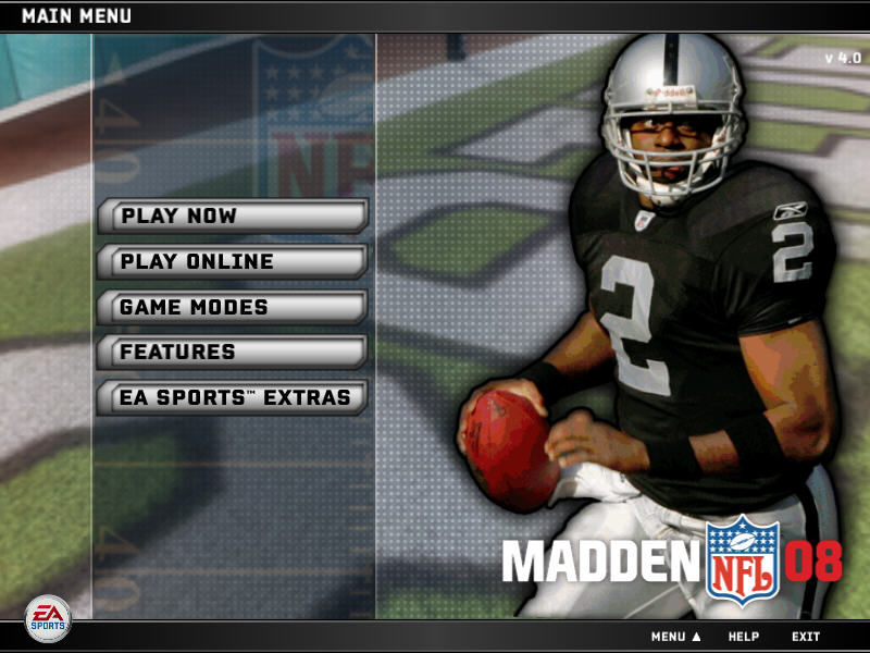 Madden NFL 08 Windows Main menu