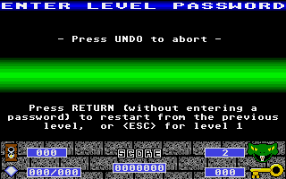 Cyber Snake Atari ST Password screen