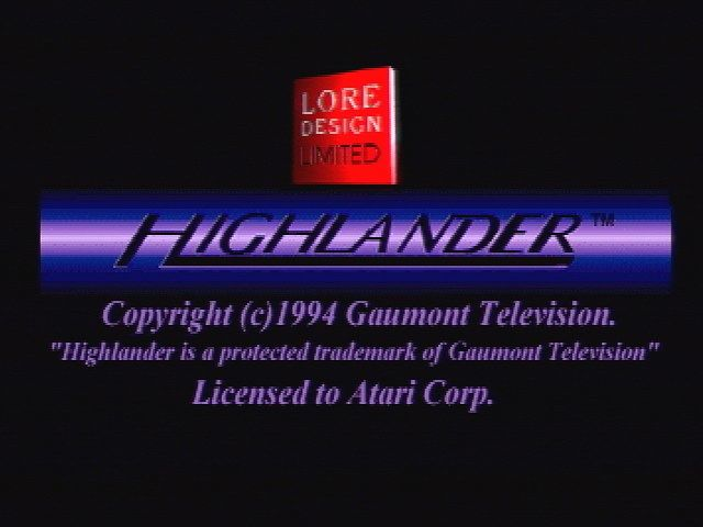 Highlander: The Last of the MacLeods Jaguar Title Screen