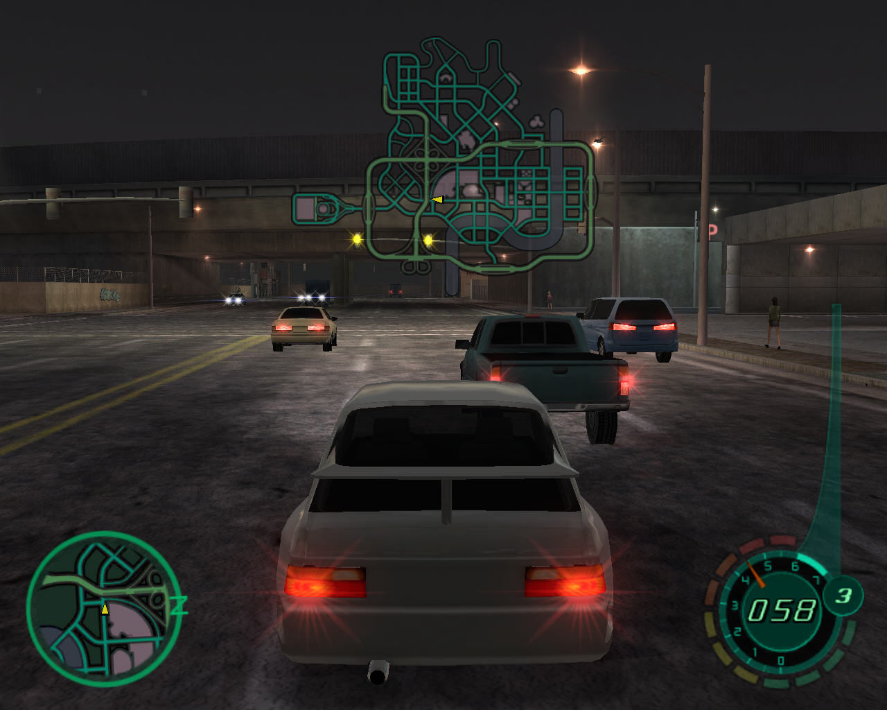 Midnight Club II Windows You can view map while driving