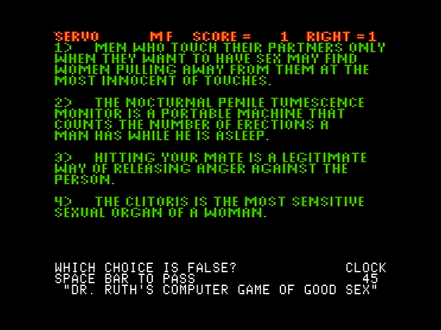 Dr Ruth S Computer Game Of Good Sex