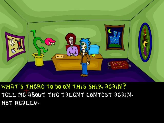 The Game That Takes Place on a Cruise Ship Windows Talking to the receptionist.