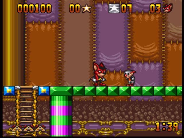 Aero the Acro-Bat SNES Facing an enemy. You can kill him by throwing stars, in case you have any, or you can just jump over him