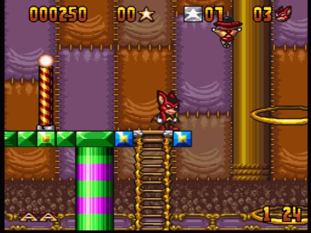 Aero the Acro-Bat SNES This fatso is hanging above with the sole purpose: to prevent you from collecting nice things by jumping through this ring