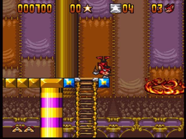 Aero the Acro-Bat SNES You can have bonus points by jumping right through the middle of the ring, avoiding the fire