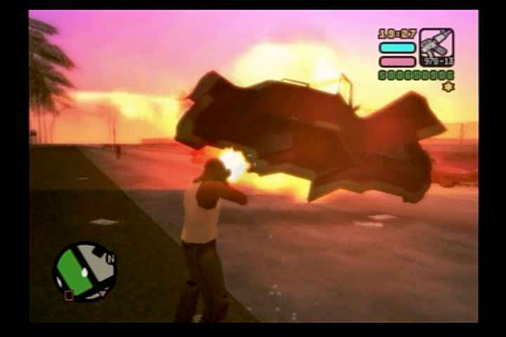 Grand Theft Auto: Vice City Stories PlayStation 2 Blowing vehicles up at dusk.