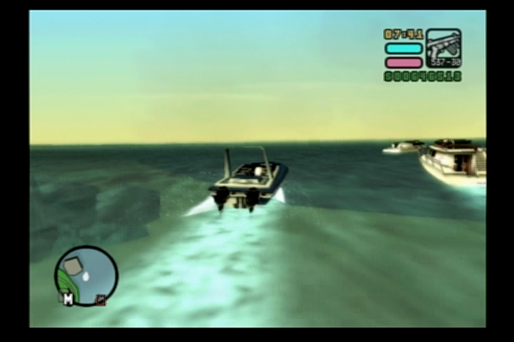 Grand Theft Auto: Vice City Stories PlayStation 2 Driving a speedboat.
