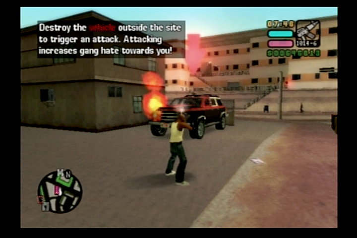 Grand Theft Auto: Vice City Stories PlayStation 2 Starting a fight with a gang to try and take over their business.