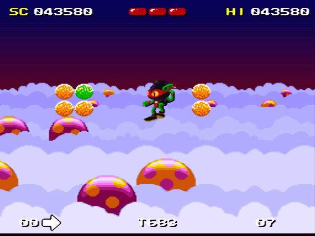 Zool SNES Jumping up to the skies, collecting items