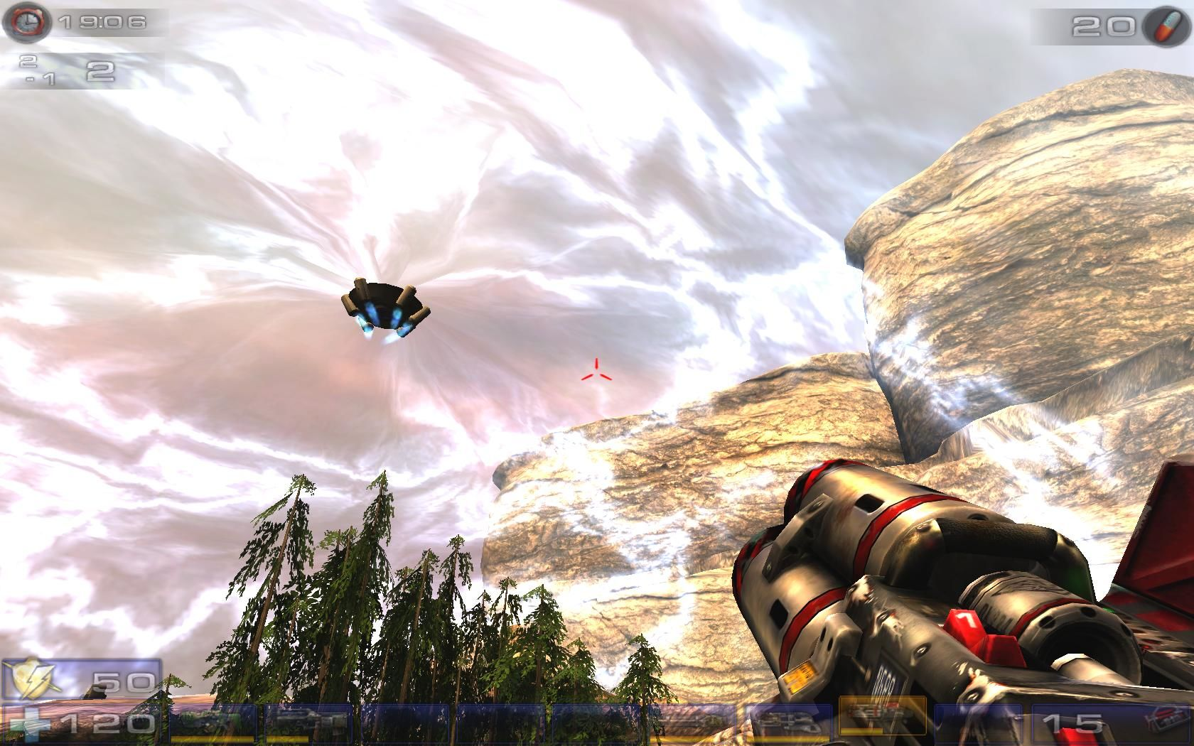 Unreal Tournament 2004 Windows This hovering Shield Generator-thingie prevents players from leaving the map.